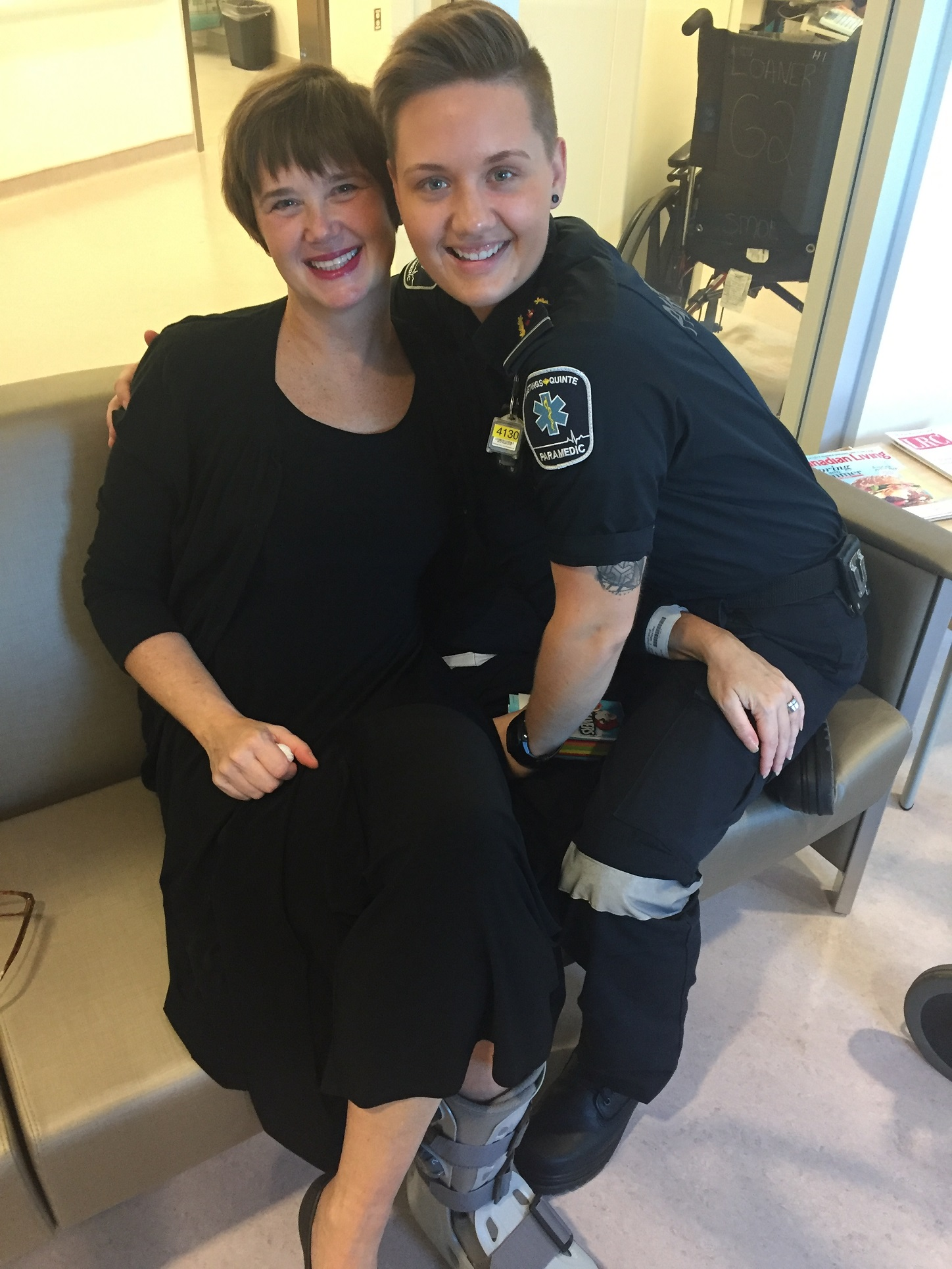 Constance with Hastings-Quinte paramedic Brit Weidel